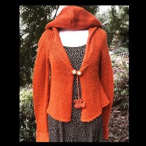 Anthro—Sleeping on Snow Orange Wool-Bee- Sweater.